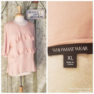WHO WHAT WEAR PEACH BLUSH LOOSE FIT RUFFLE BLOUSE